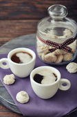 Coffee with fresh biscotti — Stock Photo