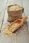 Oat flakes in sac — Stock Photo