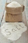 Sea salt in sack — Stock Photo