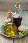 Olive oil and wine vinegar  — 图库照片