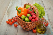 Vegetables in the wicker basket — Stock Photo