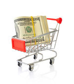 Shopping cart with dollars — Stock Photo