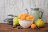 Apricot, blueberry and pear — Stock Photo
