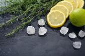 Tarragon with lemon, sugar and lime — Stock Photo