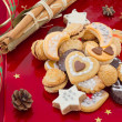 Christmas cookies, short bread in different shapes, festive background — Stock Photo #13844999