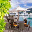 Stock Photo: Cozy restaurant on decking by beautiful marinat Eden Islan