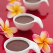 Stock Photo: Chocolate mousse desert on red background