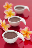 Chocolate mousse desert on red background — Stock Photo