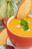 Pumpkin soup in Bright bowl with bread slice and parsley — Stock Photo