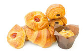 Assorted danish pastries Isolated on a white background — Stock Photo