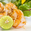 Fresh salad with fried shrimps, variety of salad leafs, mango, o — Stock Photo