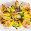 Prawn salad with mango, smock salmon, cucumber, balsamic vinegar — Стоковая фотография