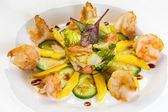 Prawn salad with mango, smock salmon, cucumber, balsamic vinegar — Stock Photo