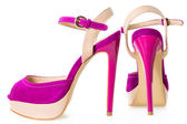 Pair of beautiful pink and beige high hilled shoes, on white — Stock Photo