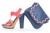 Pare of trendy navy blue and pink shoes, with matching bag, on w — Stock Photo