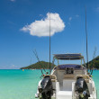 Stock Photo: Sport fishing vacation boat on beautiful blue Laguna