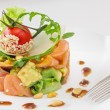 Stock Photo: Smock salmon and avocado salad