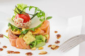 Smock salmon and avocado salad — Stock Photo