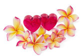 Two red hearts and frangipani flowers, isolated on white backgro — Stok fotoğraf