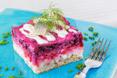 Russian herring salad Shuba — Stock Photo