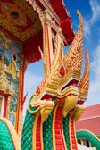 Golden Naga, Thai mythological character, as part of a Chalong temple, Thailand — Stock Photo