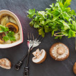 Mushroom casserole in heart shape with fresh parsley and cheese — Stock Photo #47181549