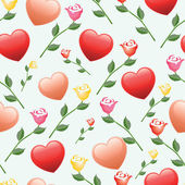Seamless hearts and roses vector pattern — Stock Vector