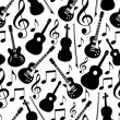Seamless musical instruments monochrom pattern vector - Vettoriali Stock