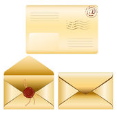 Old envelopes with wax seal stamp — Stock Vector