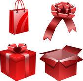 Cajas rojas paquete y regalo — Vector de stock