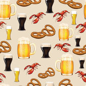 Beer, snack and crayfish — Stock Vector