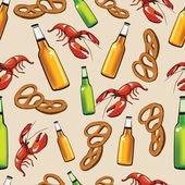 Bottles with beer, snack and crayfish — Stock Vector