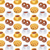 Cups of coffee and cakes pattern vector — Stock Vector