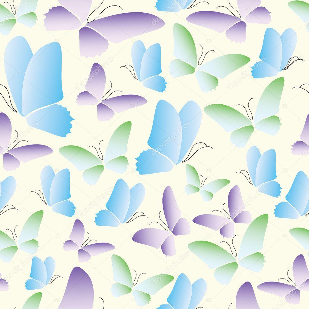 无缝的抽象蝴蝶图案矢量背景