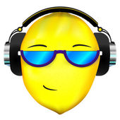Lemon face in headphones — Stock Vector