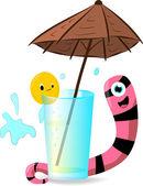 Worm e laranja sobre um vidro sob um guarda-chuva — Vetorial Stock