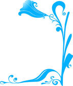 Vector blue flower frame for corners — Stock Vector