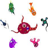七个怪物的一套 — 图库矢量图片