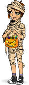 Halloween little boy mummy with candy — Stock Vector