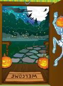 Fondo de la noche de halloween — Vector de stock