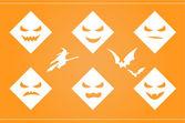 Fondo halloween espeluznante caras y siluetas — Vector de stock