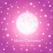 New Year postcard with christmas ball, pink colored — Stock Vector