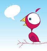 Uccello viola doodle wallpaper con bolla di testo — Vettoriale Stock