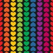 Vector seamless pattern with hearts colored like rainbow — Stock Vector #19297787