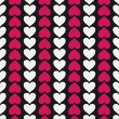 Vector seamless pattern with hearts — Vector de stock