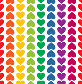 Vector seamless pattern with hearts colored like rainbow — Stock Vector