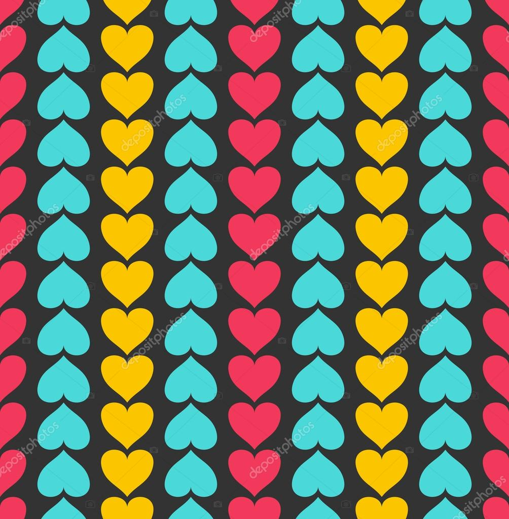 Vector seamless pattern with valentine hearts on black — Stock Vector #19297911
