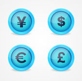 Currency signs on glossy icons — Stock Vector