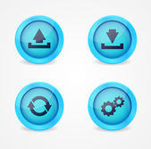Computer signs on glossy icons — Stock Vector