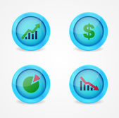 Financial signs on glossy icons — Stock Vector